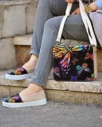 ست کیف و کفش دخترانه طرح پروانه مدل 3396