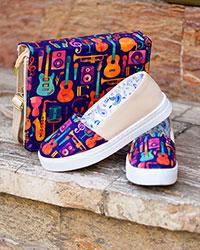 ست کیف و کفش دخترانه طرح گیتار مدل 3397