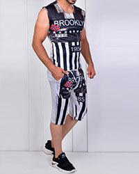 ست رکابی و شلوارک ورزشی مردانه broklin مدل 2839