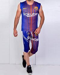ست رکابی و شلوارک ورزشی مردانه بارسلونا مدل 2838