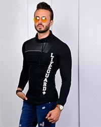 تی شرت یقه شالی سینه چرم مدل 2429