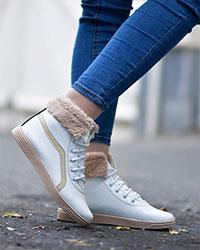 کفش نیم بوت دخترانه خزدار مدل 2097