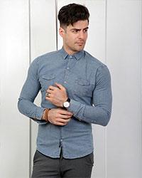 پیراهن جین مردانه کلاسیک مدل 1848