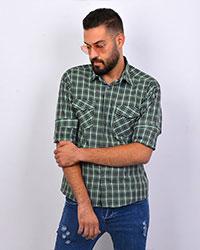 پیراهن مردانه چهارخانه قواره کوچک سبز 2028