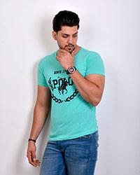 تی شرت مردانه یقه گرد طرح دار 2196