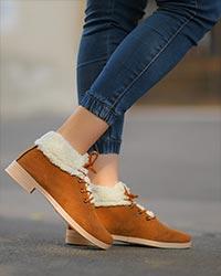کفش نیم بوت دخترانه لبه خزدار مدل 2684