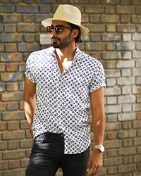پیراهن مردانه هاوایی طرح LV مدل 0217