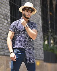 پیراهن مردانه هاوایی گل دار مدل 0336