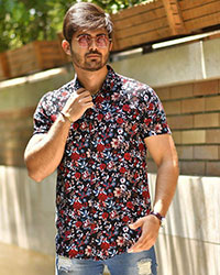 پیراهن مردانه هاوایی گل رز مدل0424