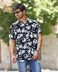 پیراهن مردانه هاوایی برگ و گل مدل 0426