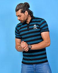 تی شرت یقه دار راه راه R مدل 0586