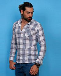 پیراهن مردانه تک جیب خطی مدل 0435