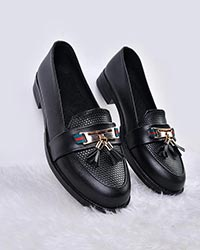 کفش تخت دخترانه منگوله و پوست ماری گوچی مدل 0387
