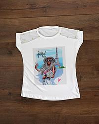 تی شرت سرشانه تور و مروارید ایفل مدل 7087