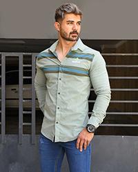 پیراهن مردانه طرح دار آستین راه راه مدل 9027