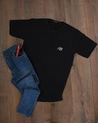 تی شرت مردانه آستین کوتاه گلدوزی شده نخ پنبه NB مدل 9055