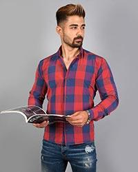 پیراهن مردانه چهارخانه دو رنگ مدل 7779