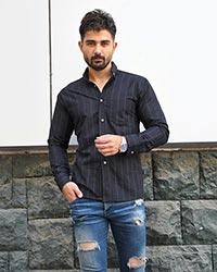 پیراهن مردانه راه راه تک جیب مدل 1574