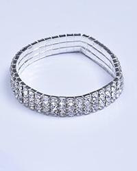 دستبند نگینی کش نقره ای زنانه