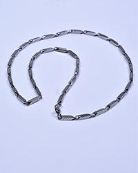 گردنبند مردانه استیل نقره ای خط دار