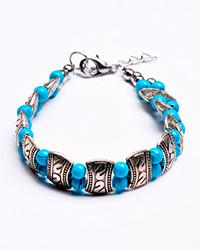 دستبند سنتی فیروزه ای نقره ای زنانه