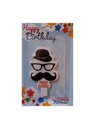شمع تولد مدل سیبیل و عینک