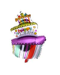 بادکنک فویلی طرح کیک سه طبقه