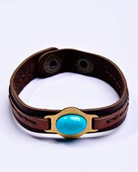 دستبند چرم همراه سنگ فیروزه