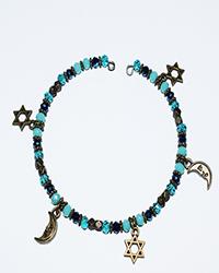 دستبند طرح النگو سنگ با آویز ستاره و ماه زنانه