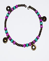 دستبند طرح النگو سنگ با آویز گرد زنانه