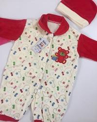 سرهمی مخمل نوزادی همراه با کلاه کیفیت بسیار عالی و قیمت مناسب