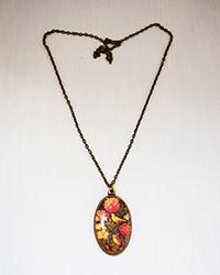 گردنبند طرح پرنده و سبد گل آمیتیس