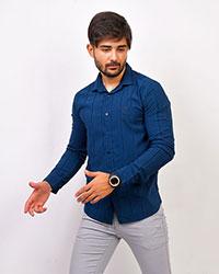 پیراهن آستین بلند آبی مدل CK