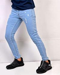 شلوار جین زاپ دار آبی کبریتی مردانه