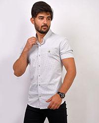 پیراهن آستین کوتاه طوسی روشن مدل CIC