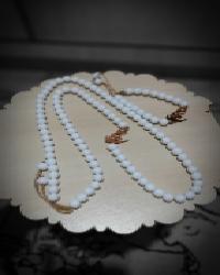 ست دستبند و گردنبند اونیکس سفید