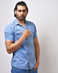 پیراهن جین آستین کوتاه مردانه مدل زاپ دار