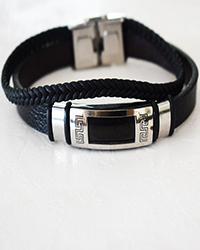 دستبند چرم طرح  ورساچه چند رج بافت مردانه