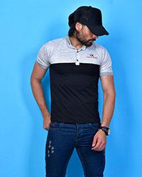 تی شرت مردانه مدل یقه دار رنگ مشکی