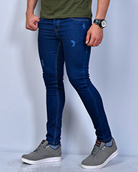 شلوار جین زاپ دار آبی تیره مردانه