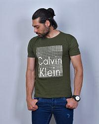 تی شرت مردانه مدل CALVIN CLEIN رنگ سبز زیتونی