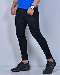 شلوار جین زاپ دار مشکی مردانه