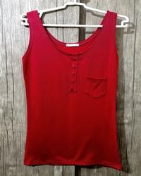 تاپ زنانه مدل تک جیب رنگ قرمز