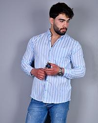 پیراهن کلاسیک مردانه راه راه مدل beni (راه راه طوسی)