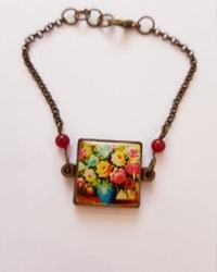 دستبند سنتی پلاک گل آمیتیس