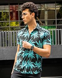 پيراهن هاوايي مردانه مشكي سبز مدل Riofer
